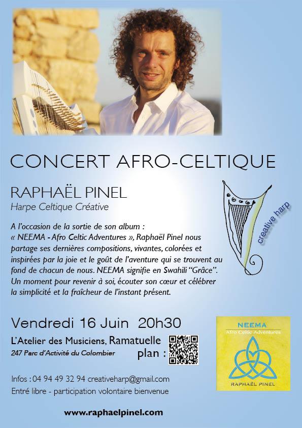 Concert Raphael Pinel harpe celtique Ramatuelle 16 juin 2017 EMAIL